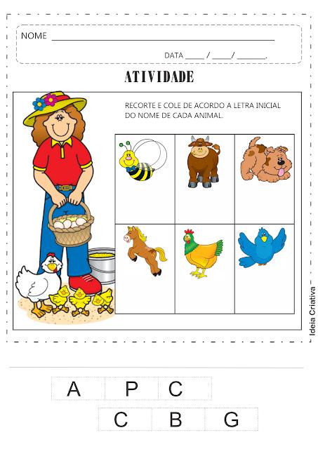 Atividade Animais e Letra Inicial Recorte e Colagem