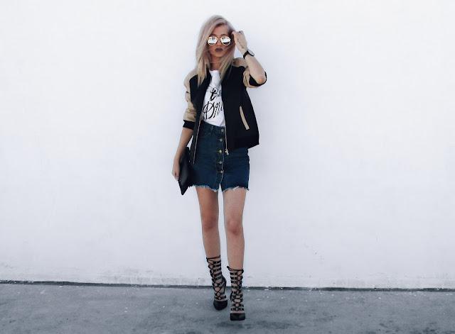 denim skirt outfits pinterest