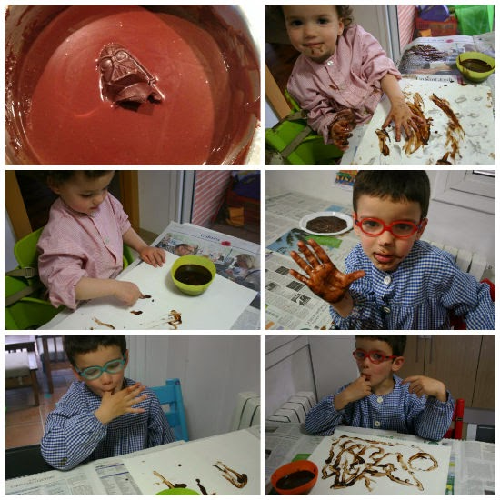 Manualidad infantil pintar con chocolate
