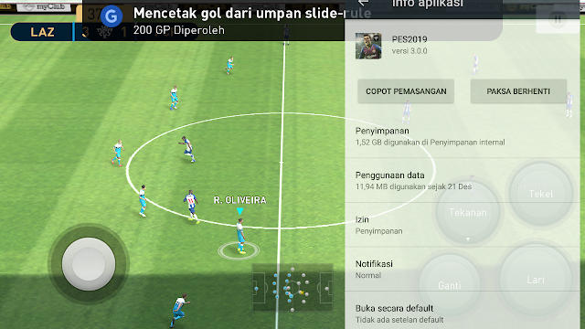Berapa Total Size Game PES 2019 Pro Evolution Soccer Untuk HP Android?