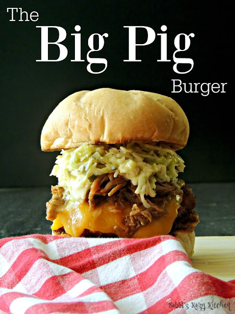 "The Big Pig Burger is an ""In yo face"" explosion of piggy goodness that requires a large appetite, and lots of napkins! From www.bobbiskozykitchen.com"