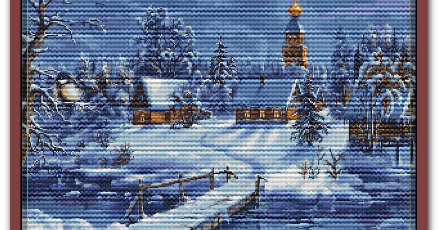 """Схема вышивки B447 """"Зимний пейзаж"""" Лука-S (Молдова)"""