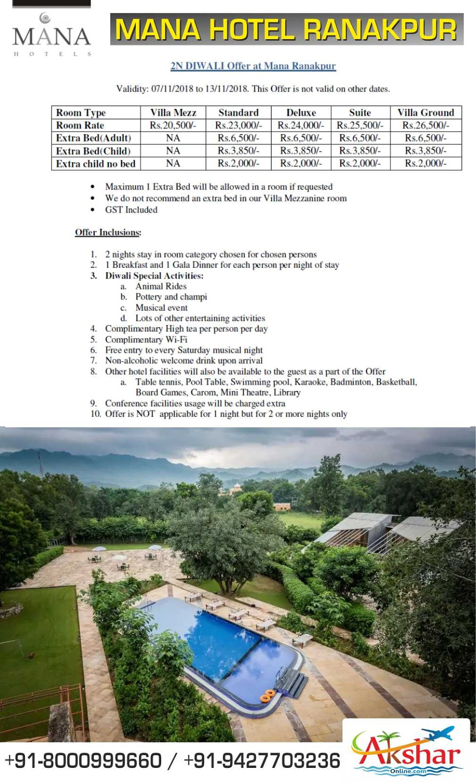 mana hotel ranakpur diwali rates, mana ranakpur reservation, booking. akshar infocom, aksharonline.com, akshar travel services, 9427703236, 8000999660