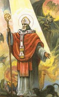 San Cipriano iluminado con Luz Divina con demonios atemorizados detras de el