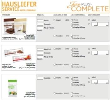 Juice Plus Complete Hauslieferservice / Bestellformular.