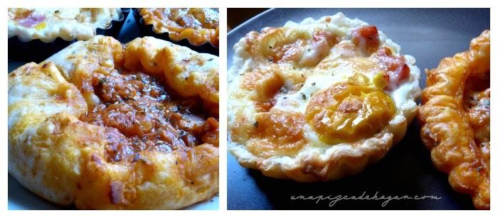 tartaletas de jamón, huevo, queso, tomate