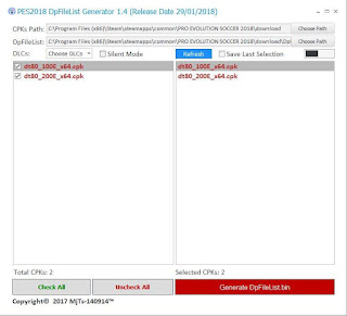 PES 2018 DpFileList Generator 1.4 (FINAL) by MjTs-140914