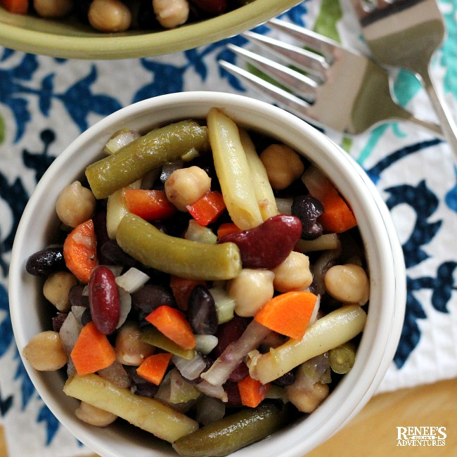 Mixed Bean Salad by Renee's Kitchen Adventures in white bowl