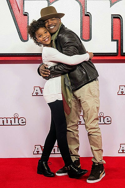 Jamie Foxx and Quvenzhané Wallis Photo call for the musical 'Annie' in London