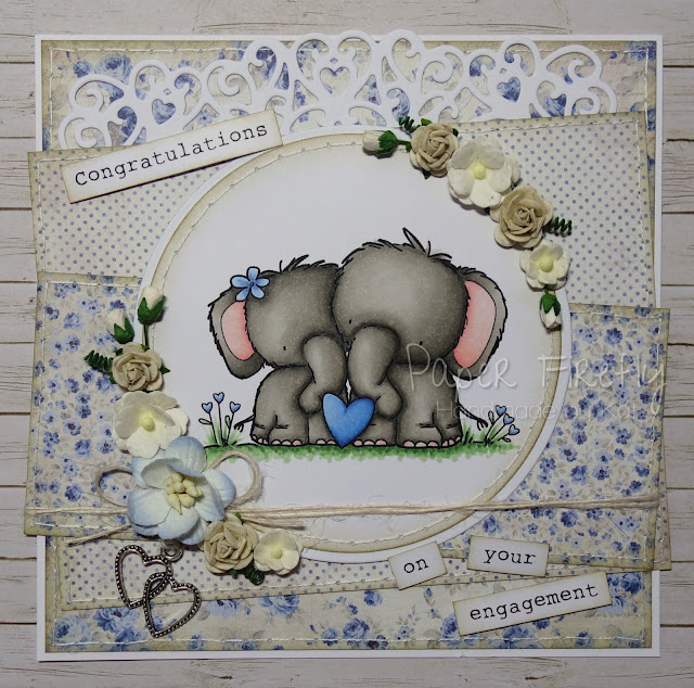 Romantic engagement card with elephant couple (image from Digi Stamp Boutique)