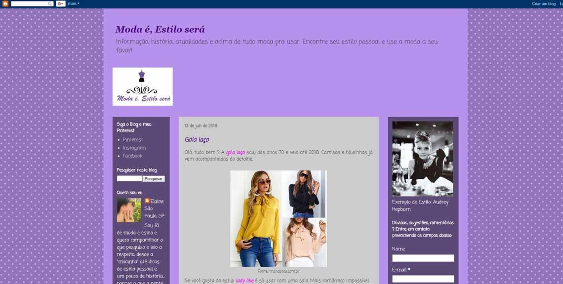 Exemplo de um blog feito com um modelo padrão