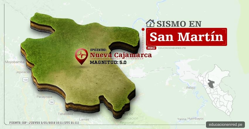 Temblor en San Martín de Magnitud 5.0 (Hoy Jueves 3 Enero 2019) Sismo Epicentro Nueva Cajamarca - Rioja - Calzada - Moyobamba - IGP - www.igp.gob.pe