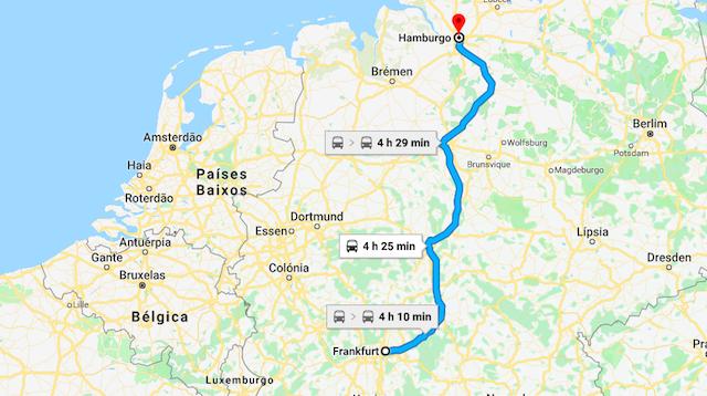 Mapa da viagem de trem de Frankfurt a Hamburgo