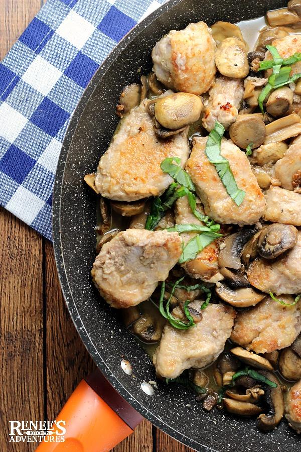 Easy Pork Tenderloin Marsala in the pan