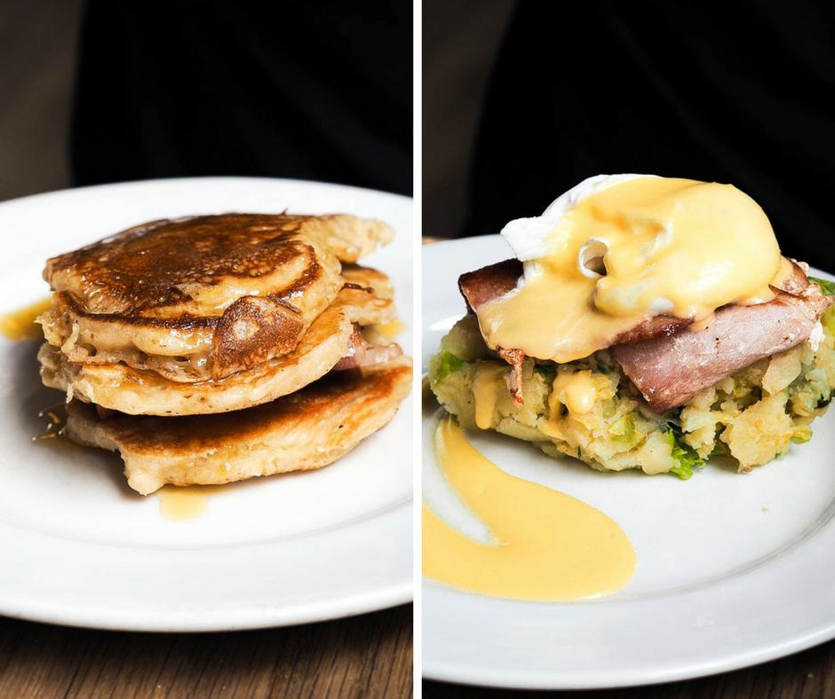 Bacon and maple syrup pancakes, bubble and squeak with bacon, poached eggs and hollandaise sauce