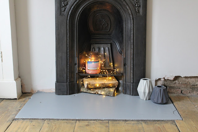 painted hearth in bedroom fireplace