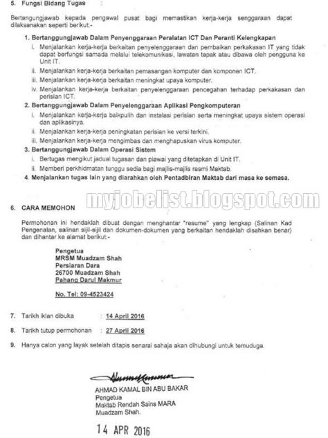 Jawatan Kosong di Maktab Rendah Sains Mara (MRSM)