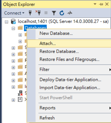 SSMS Attach mssql-server-linux DB