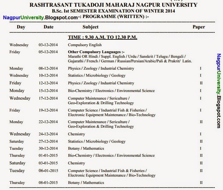 Bsc 1st year sem 1 time table 2015 winter for Rtmnu time table 4th sem