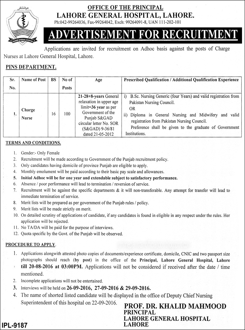 Charge Nurse Job In Lahore General Hospital Augest 2016
