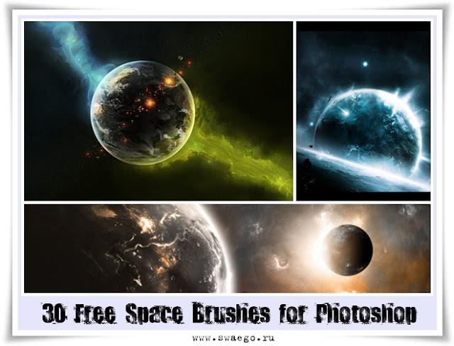 24 бесплатных набора кистей для Фотошопа на космическую тему