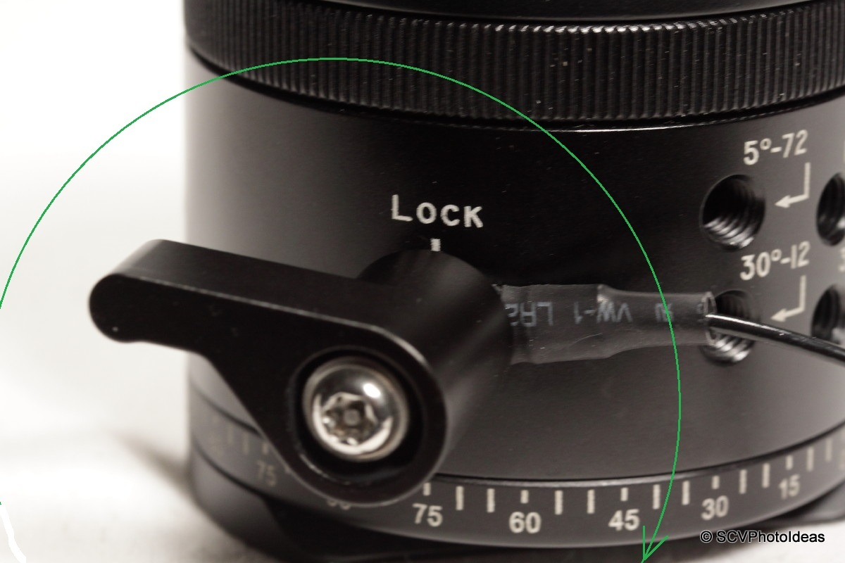 Sunwayfoto DDP-64MX pan base Lever Lock-knob detail