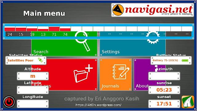 Menu utama aplikasi GPS Gratis 7Ways sangat mudah digunakan.