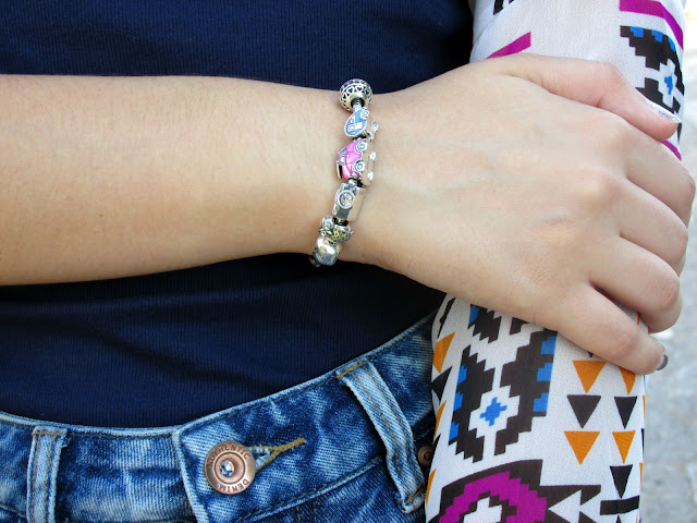 dressgal, kimono, high-waisted denim shorts, soufeel charm bracelet