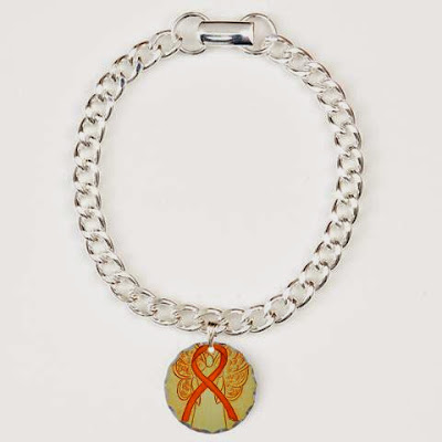 Orange Guardian Angel Awareness Ribbon Pendant Charm Bracelet