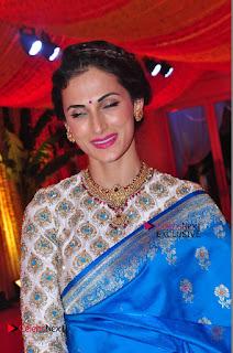 Actress Model Shilpa Reddy Exclusive Stills in Blue Saree at Vijay Karan Aashna Wedding  0049.JPG