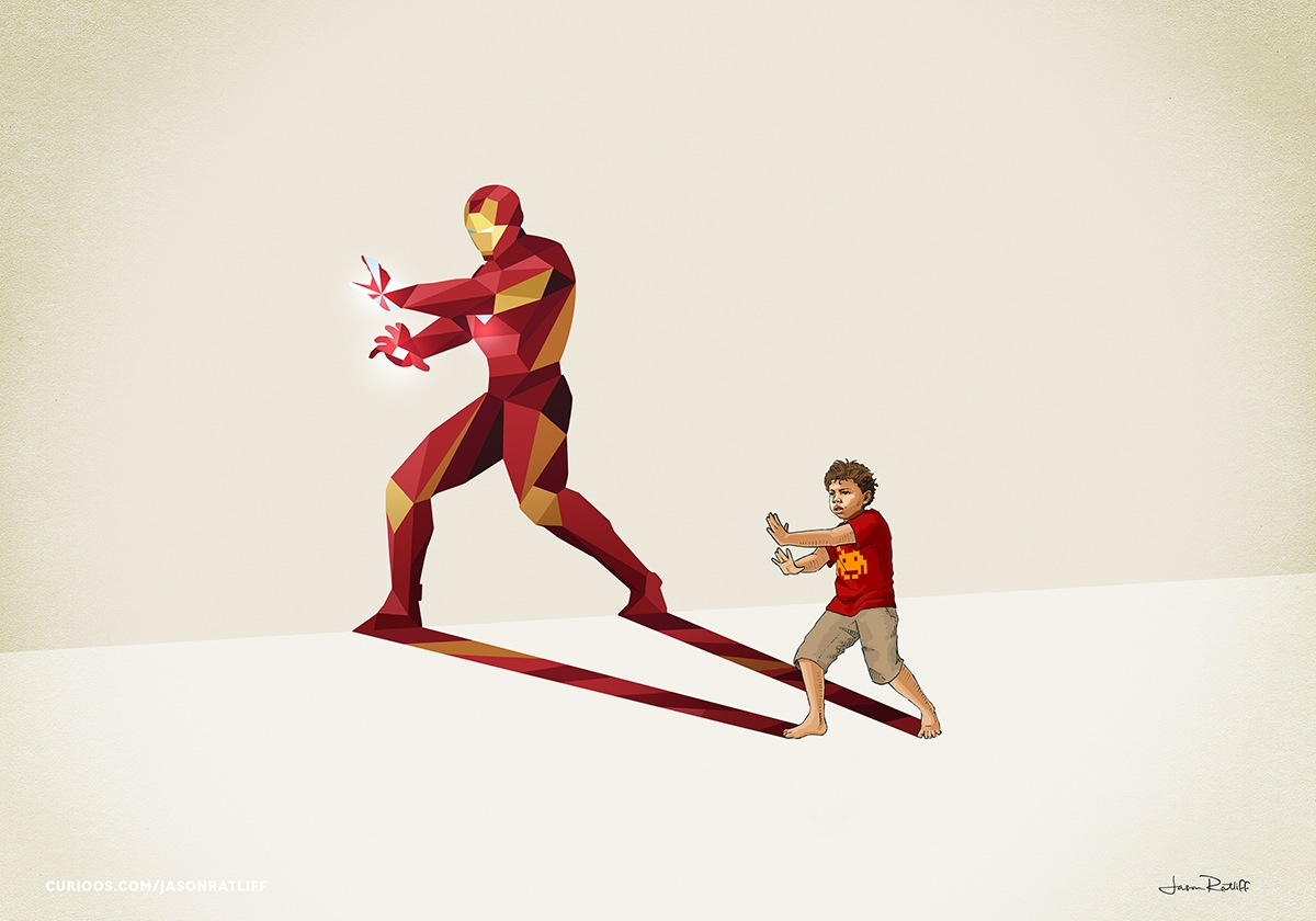 10-Iron-Man-Jason-Ratliff-Comic-Book-Heroes-in-Super-Shadows-II-Illustrations-www-designstack-co