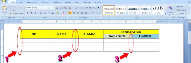 Membuat garis tebal dalam tabel di word