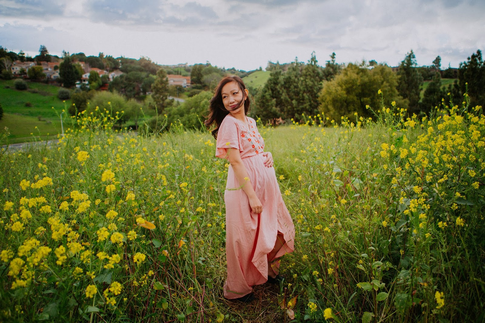 mustard flower fields maternity session bay area