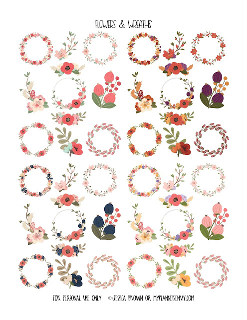 Flowers & Wreathes Clip Art from myplannerenvy.com