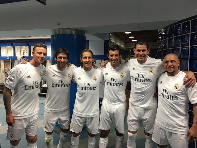 Guti; Raúl; Salgado; Figo; Hierro y Roberto Carlos