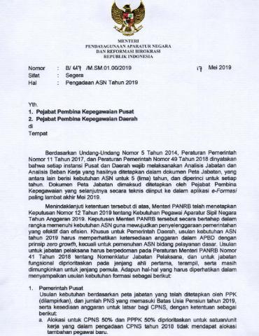 Surat Edaran MENPANRB Tentang Pengadaan CPNS Tahun 2019