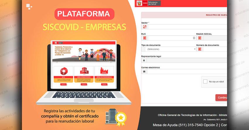 SISCOVID: Registra tu empresa en el Sistema Integrado para COVID-19 - MINSA - www.minsa.gob.pe