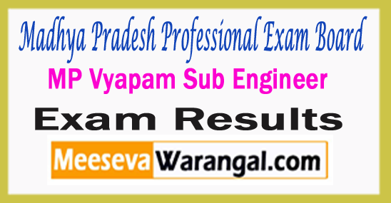 Madhya Pradesh Professional Exam Board MP Vyapam Sub Engineer Result 2017