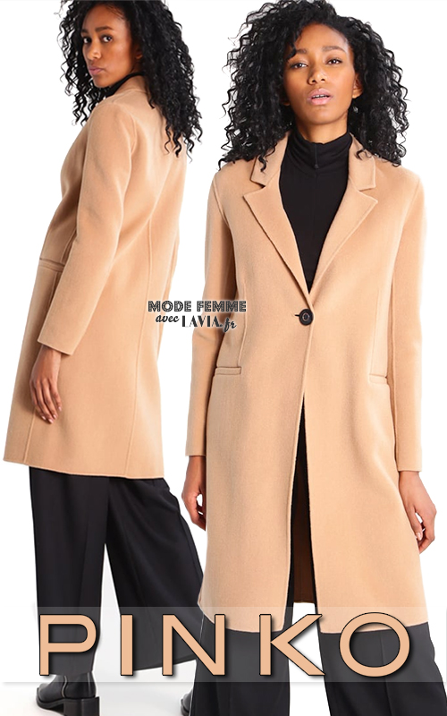 Manteau femme en laine beige classique PINKO