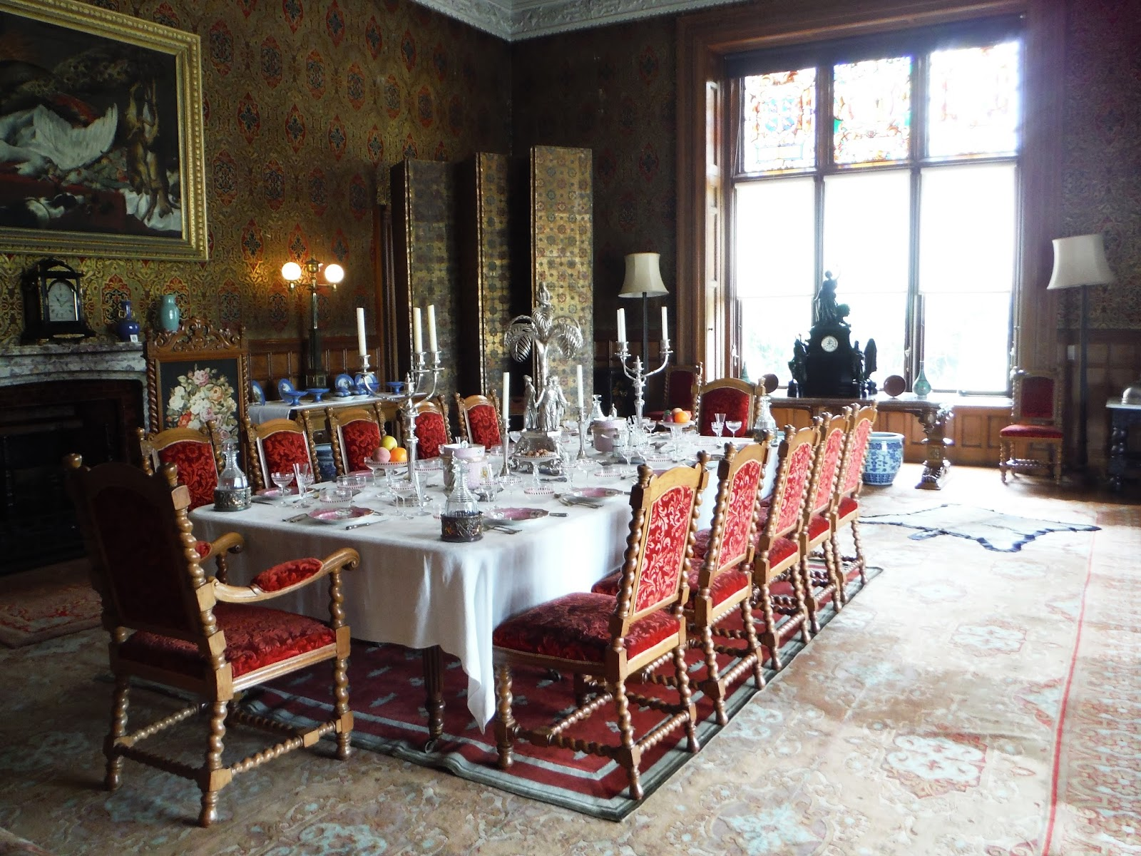 The dining table set up for a feast in the main house in Charlecote Park