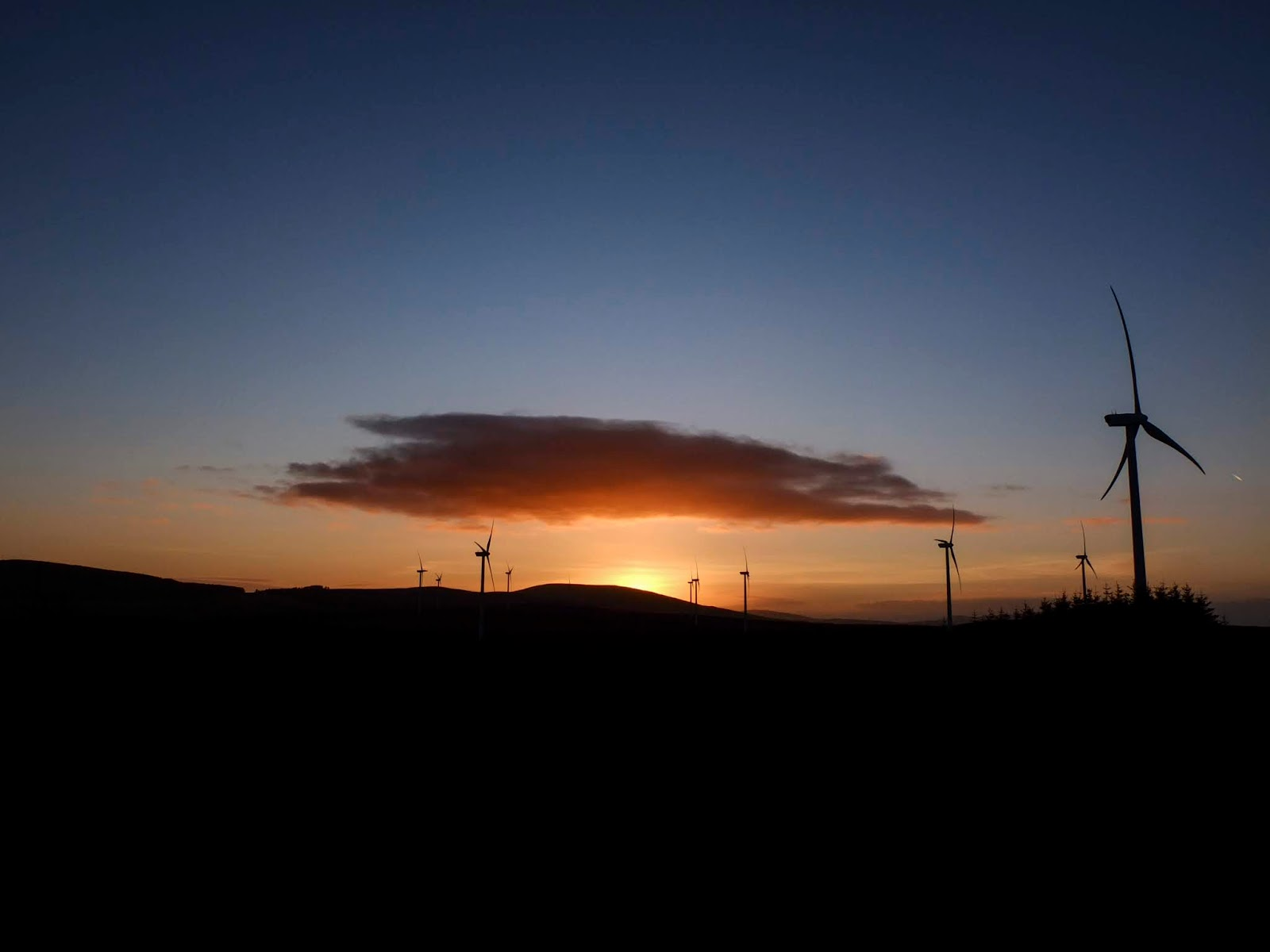 A North County Cork windmill farm sunset.