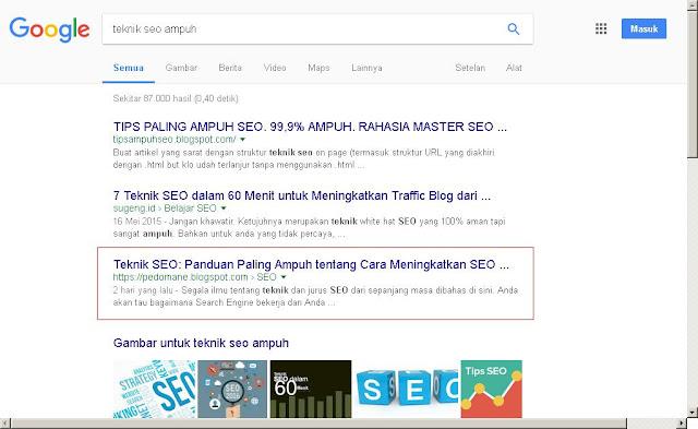 menang persaingan di SERP dan muncul di halaman pertama Google/Bing