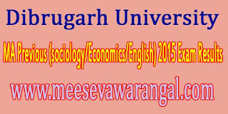Dibrugarh University MA Previous (sociology/Economics/English) 2015 Exam Results