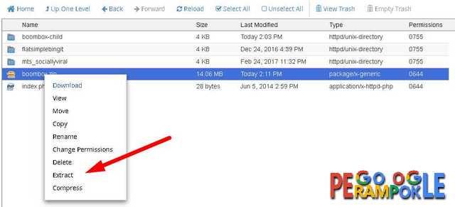 klik kanan pada file tersebut lalu pilih extract file