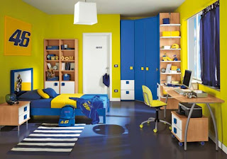 Habitación amarillo azul