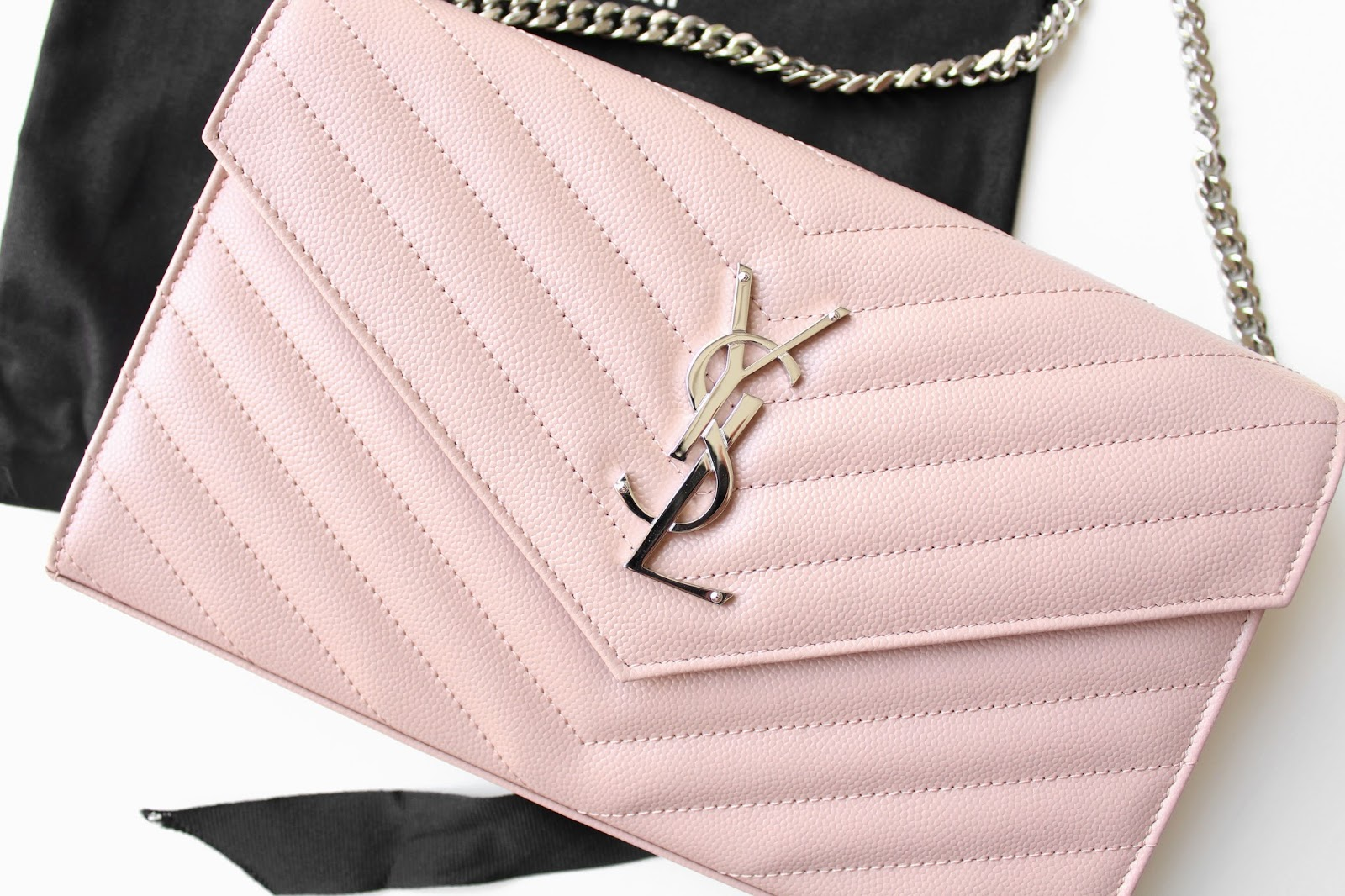 Saint Laurent Monogram Chain Wallet in Pale Blush Textured Matalasse Leather with Silver Hardware. / Life in Excess Blog