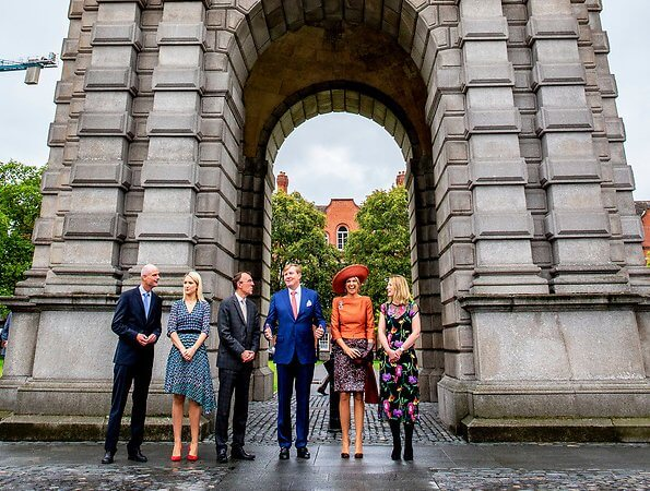 Queen Maxima wore a Natan blouse and Natan multicolor skirt, LK Bennett shoes.  Irish Prime Minister Leo Varadkar