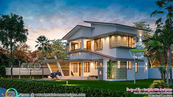Design of a Classic style 4BHK Kerala house design