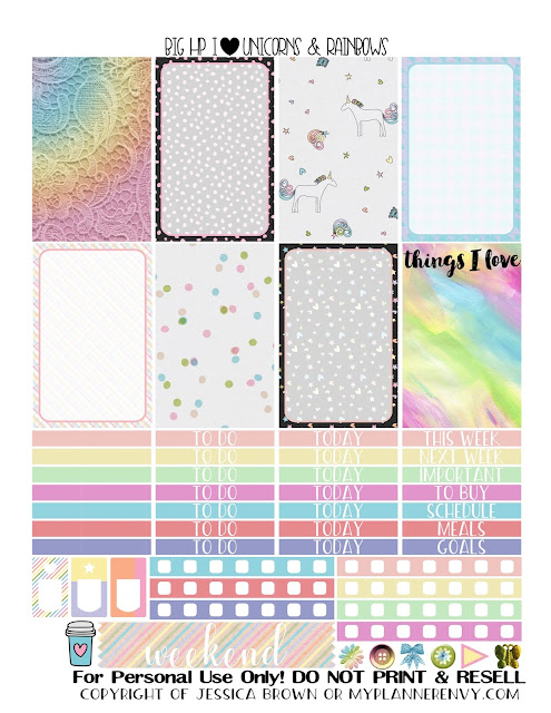 Free Printable I Heart Unicorns & Rainbows Sampler for the Big Happy Planner from myplannerenvy.com