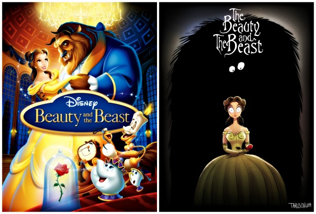 Illustrator Andrew Tarusov redesigns  Disney's classic movie character  The Beauty and the Beast  into Tim Burton's dark gothic style via geniushowto.blogspot.com Illustrations 4